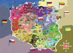 illustrated-map-of-poland. Teo each side hands Lithuania and Poland Poland Map, Poland Food, Poland Travel, Retro Toys, Vintage Toys, Poland Culture, Polish Language, Ukraine, World Thinking Day