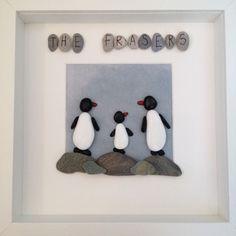 Handmade, Bespoke Pebble Art - Penguin Family in Home, Furniture & DIY, Home Decor, Photo & Picture Frames | eBay!