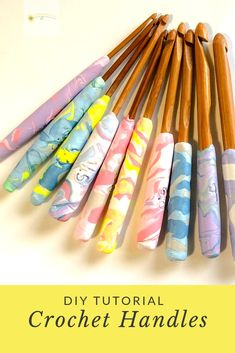 Learn how-to with this DIY crochet hook handles tutorial. We show you how to create your own clay handles for those uncomfortable hooks! Diy Crochet Hook Handle, Crochet Handles, Crochet Hooks, Biscuit, Diy Craft Projects, Clay Projects, Diy Crafts, Polymer Clay Crafts, Crochet Patterns