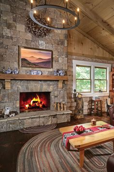 Cozy Fireplace, Fireplace Ideas, Fireplace Design, Perfect North, Sunroom Addition, Timber Beams, Modern Rustic Homes, Georgia Homes, Luxury Cabin