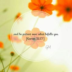 ...and be patient over what befalls you. [Quran 31:17]