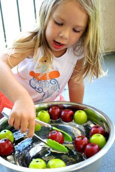 """Great Fall fine motor activity for preschoolers. """"Bob"""" for apples."""
