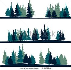 evergreen mountain sihouettes - Google Search