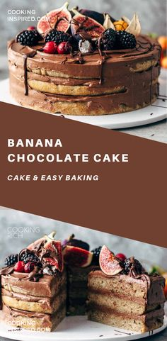 This Banana Chocolate Cake recipe is very easy to make. 4 soft and moist banana cake layers frosted with chocolate cream cheese frosting. Baking Desserts, Just Desserts, Delicious Desserts, Cake Baking, Healthy Cake Recipes, Banana Recipes, Dessert Recipes, Chocolate Cream, Chocolate Cakes