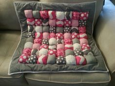 Gray and pink puff quilt... www.facebook.com/CMDesignCo