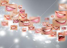 Лица улыбаясь в наборе. Здоровые зубы. Улыбка — Стоковое изображение #13623673
