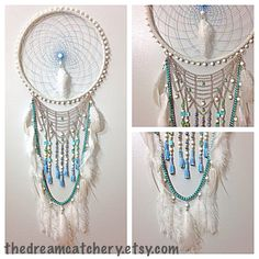 Handmade White Turquoise Blue Dream Catcher With Tassels, Silver Chains, and Ostrich and Rooster Feathers - Modern Bohemian Home Decor