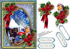 A lovely card in an oval frame with a beautiful Christmas scene and Decorations has 2 greeting tags and a blank one