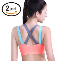 fed88297ef96c HeartFor Racerback Sports Bras for Women Padded High Impact Workout