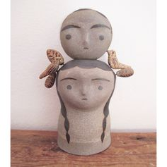 """Off white ceramic totem measures 5"""" x 3"""" x 3"""". One of a kind and handmade in Los Angeles."""
