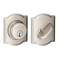 Schlage B60N-CAM Single Cylinder Grade 1 Deadbolt with Decorative Camelot Rose Satin Nickel Deadbolt Keyed Entry Single Cylinder