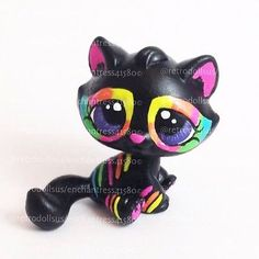 Littlest-Pet-Shop-Custom-Neon-Kitty-Cat-Hand-Painted-OOAK-Repaint-RetroDollsUS