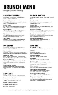 customize restaurant brunch menu