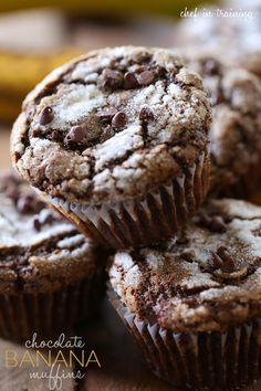 Chocolate Banana Muffins from chef-in-training.com …These muffins are so moist and have the most delicious flavor! Definitely one of the best muffins I have ever eaten!