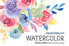 Watercolor floral clipart: 47 bright Branches, Flowers, Leaves, Watercolour Colorful Boho Aquarelle Digital Clip Art Free Commercial Use PNG Watercolor And Ink, Watercolor Flowers, Flower Bouquet Png, Drawing Clipart, Flower Branch, Flower Art, Plant Drawing, Summer Flowers, Printing On Fabric