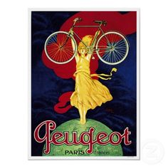 Peugeot Bicycle Advertising Vintage Poster by Unknown Artist is printed with premium inks for brilliant color and then hand-stretched over museum quality stretcher bars. Money Back Guarantee AND Free Return Shipping. Retro Poster, Poster Art, Poster Prints, Art Prints, Retro Print, All Poster, Vintage Advertisements, Vintage Ads, Vintage Posters