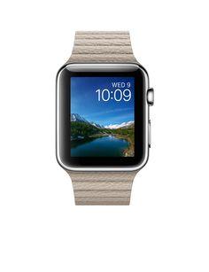 77741d51710 Apple Watch – Caixa 42mm de aço inoxidável com pulseira cinza de couro Cinza