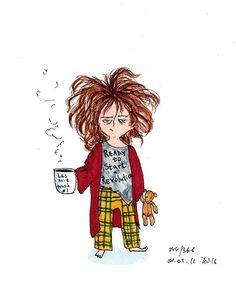 Art And Illustration, Cute Cartoon Wallpapers, Coffee Art, Doodle Art, Cartoon Art, Cute Drawings, Cute Art, Art Sketches, Art Girl