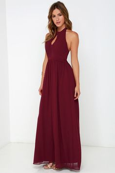 Ooh Gala-La Burgundy Maxi Dress at Lulus.com!