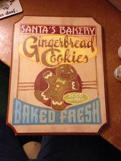 Santa's Bakery Gingerbread Cookies Sign on Etsy, $35.00