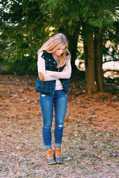 Boots, patches on the elbows, and vest adorable combo