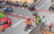 verkeersplaat over fietsen in het verkeer, op de site zijn nog aanvullingen voor de les