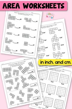 Area Worksheets for 2nd Grade Area And Perimeter Worksheets, Area Worksheets, 2nd Grade Math Worksheets, Math Tutor, Teaching Math, Math Games For Kids, Math Activities, Second Grade Math, Grade 2