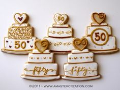 wedding anniversary cookies, people dont make it this long anymore 50th Anniversary Cookies, 50th Wedding Anniversary Cakes, Golden Anniversary, Anniversary Parties, Anniversary Ideas, 65th Anniversary, 50th Party, Wedding Cookies, Cookie Designs
