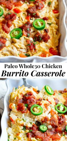 This chicken burrito casserole is packed with savory shredded chicken a flavorful creamy dairyfree cashew cheese sauce cauliflower rice salsa and peppers and onions. Its simple so satisfying and so delicious its addicting Paleo friendly and keto. Burrito Casserole, Casserole Dishes, Burrito Burrito, Keto Casserole, Rice Recipes For Dinner, Paleo Dinner, Paleo Whole 30, Whole 30 Recipes, Clean Eating Dinner