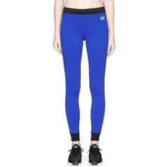 Monreal London 'Athlete' stripe colourblock performance leggings ($165) ❤ liked on Polyvore featuring activewear, activewear pants, blue, color block jersey, blue jersey and athletic sportswear