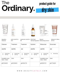 A how-to guide to pick the best The Ordinary products for dry skin. Build a skincare routine with the best products from The Ordinary for your dry skin. Oily Skin Care, Face Skin Care, Moisturizer For Oily Skin, Dry Skin Skincare, Dry Face Skin, Oily Skincare Routine, Facial Cleanser, Primer For Oily Skin, Beauty Secrets