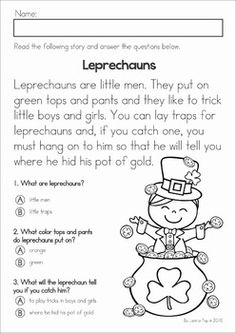 Kindergarten St. Patrick's Day Math & Literacy No Prep packet. A page from the unit: reading comprehension page about leprechauns
