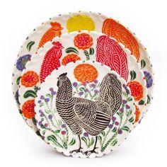 Sue Tirrell Orange Chicken Dinner Plate, Red Chicken Lunch Plate, Brown Hen Dessert Plate - thinking of you Paul Pickett!
