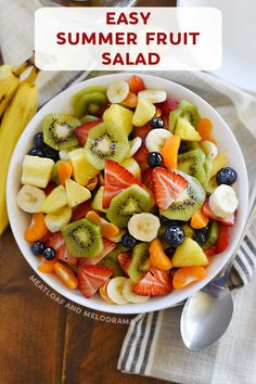 This homemade Summer Fruit Salad made with fresh fruit and a delicious honey lime dressing is bright, colorful and an easy side dish for summer cookouts! Tropical Fruit Salad, Summer Salads With Fruit, Fresh Fruit, Healthy Side Dishes, Side Dishes Easy, Side Dish Recipes, Salad Recipes For Dinner, Fruit Salad Recipes, Fruit Salads