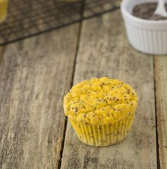 Moist and tangy lemon chia seed muffins made with coconut flour.