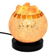 COOWOO Himalayan Hand Carved Globe Natural Salt Lamp Glow, Bulb And Dimmer Control Salt Crystal Lights