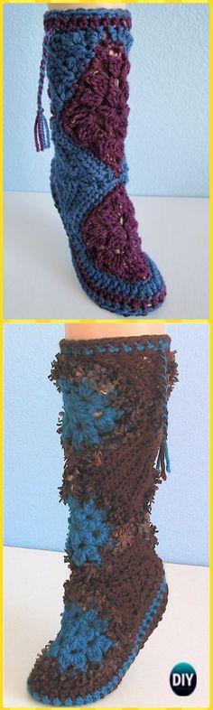 Crochet Muk Luks Slipper Boots Free Pattern- High Knee Crochet Slipper Boots Patterns to Keep Your Feet Cozy - Adult Version