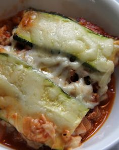 "Zucchini Lasagna. Zucchini instead of noodles. Comparison nutritional value for ""regular"" lasagna  averaged about 600 - 800 calories for an equal sized piece. I'll take 300 calories, thank you very much."