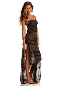 e6e82f1d76 Vitamin A Women's Black Diamond Crochet Maxi Dress Swim Cover Up Black M,  Lauren Long Strapless Sundress: Elegant styling with side slits for flowing  ...