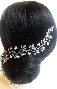 Crystal and Pear hair vine Long Hair Vine Bridal headpiece