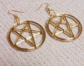 Big Mirrored Gold Acrylic PENTAGRAM Earrings