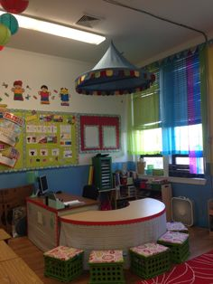 Teachers desk and guided reading table that I created with fabrics