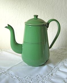 Antique Enamelware Green Coffee Pot