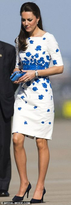 Stylish Queen-to-be: The Duchess of Cambridge looked summery in the LK Bennett floral design 19 Apr 2014