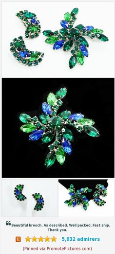 Blue & Green Brooch and Earrings Demi Set - Clip on Earrings and Pin Wheel - Prong Set Marquis and Chaton Rhinestones - Vintage 1950s 1960s https://www.etsy.com/thejewelseeker/listing/526740176/blue-green-brooch-and-earrings-demi-set?ref=shop_home_active_39  (Pinned using https://PromotePictures.com)