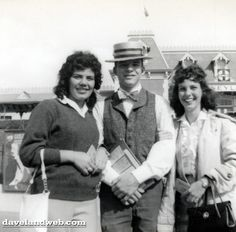 1957 photo of a young Steve Martin selling guidebooks & posing with two young ladies. He eventually moved on to selling souvenir spinning lassos in Frontierland, followed by demonstrating and selling magic tricks at the old Merlin's Magic Shop in Fantasyland, where he became an accomplished magician.