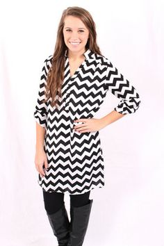 Chevron Tunic Dress - Black and White | Hazel & Olive #HAZELANDOLIVE