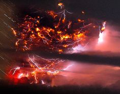 lightning bolts striking around the Puyehue-Cordon Caulle volcanic chain