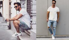 Look Masculino com Tênis Branco Adidas Star (1)