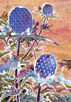 染色技法ろうけつ染めのバティック植物アザミイラスト